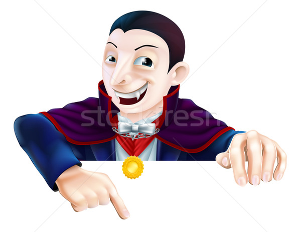 Cartoon Dracula Pointing Down Stock photo © Krisdog