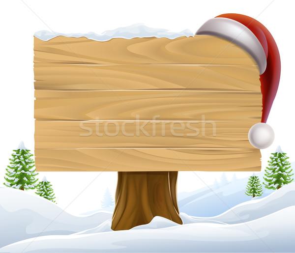 Christmas Santa Hat Snow Sign Stock photo © Krisdog