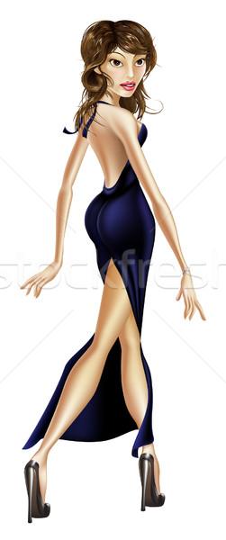 Beautiful elegant woman walking Stock photo © Krisdog