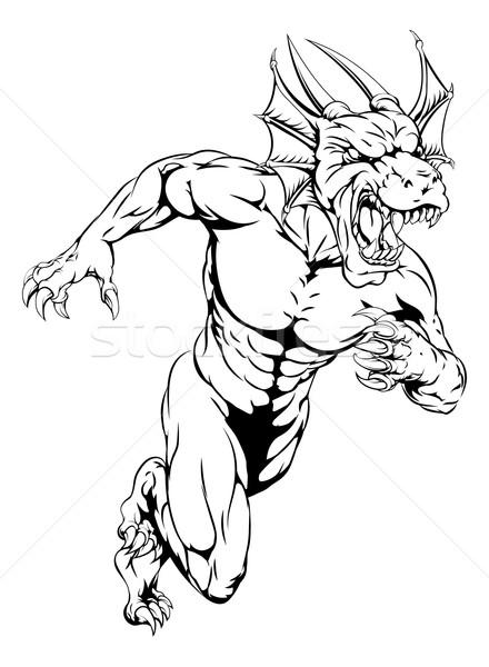 Stock photo: Dragon sports mascot sprinting