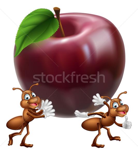 Cartoon ants carrying apple Stock photo © Krisdog