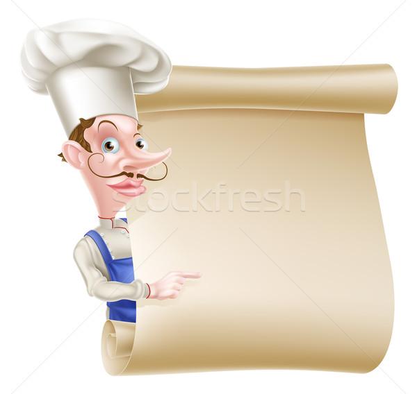 Szakács tekercs illusztráció rajz felirat mutat Stock fotó © Krisdog