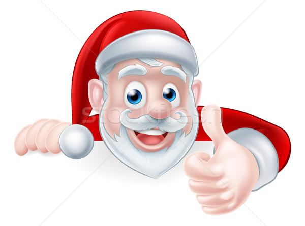 Santa Above Sign Thumbs Up Stock photo © Krisdog