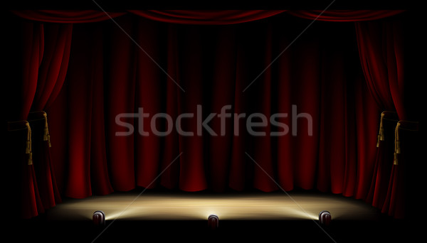 Stockfoto: Theater · fase · illustratie · theater · Rood · gordijn