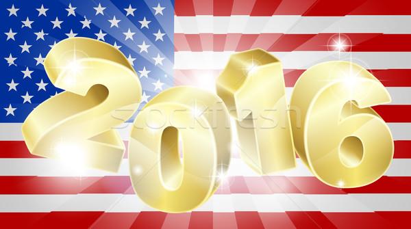 2016 seçim amerikan bayrağı bayrak yıl numara Stok fotoğraf © Krisdog