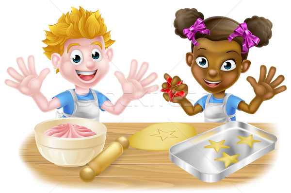 Cartoon Children Bakers Baking Stock photo © Krisdog