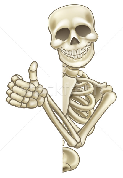 Thumbs Up Cartoon Skeleton Sign Stock photo © Krisdog