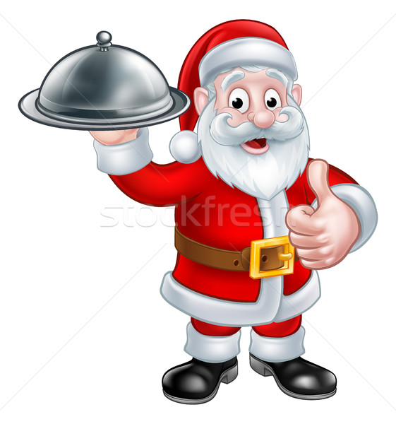 Santa Christmas Cartoon Holding Food Platter Stock photo © Krisdog