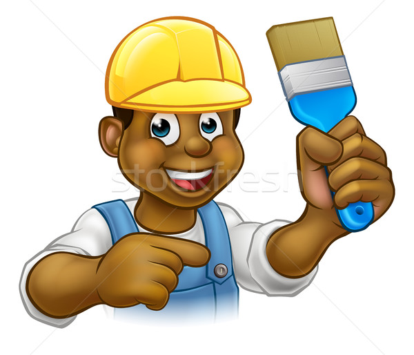 Black Painter Decorator with Paintbrush Stock photo © Krisdog