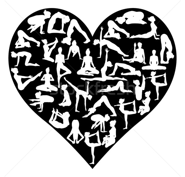 Love Yoga Poses Silhouettes Heart Stock photo © Krisdog