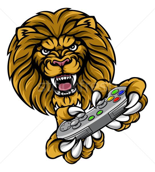 Lion Player Gamer Mascot Stock photo © Krisdog