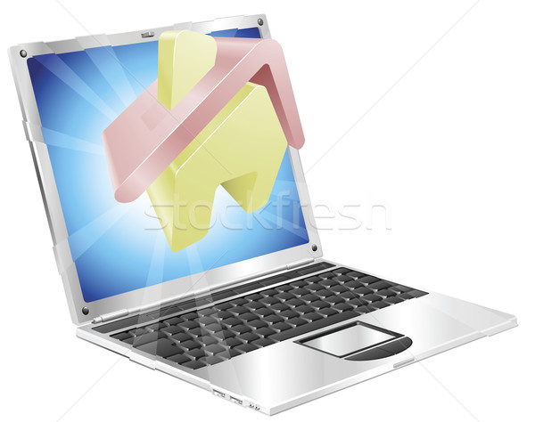Home icon laptop concept Stock photo © Krisdog