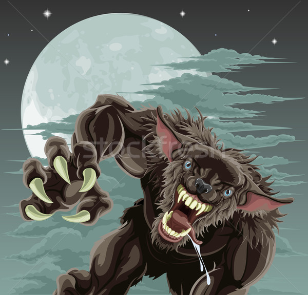 Werewolf moon illustration Stock photo © Krisdog