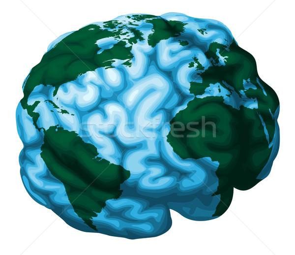 Cervello mondo mondo illustrazione cervello umano Foto d'archivio © Krisdog