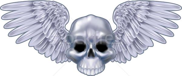 winged skull  illustration Stock photo © Krisdog