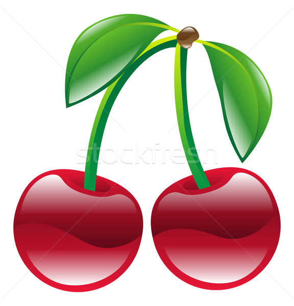 Illustration cerise fruits icône art Photo stock © Krisdog