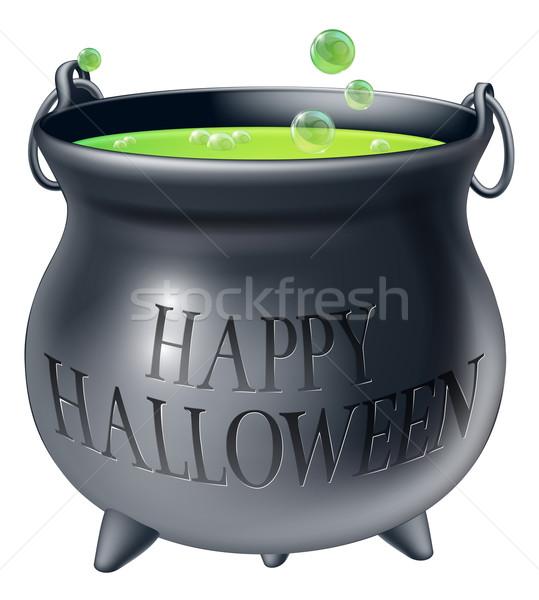 Foto d'archivio: Felice · halloween · strega · calderone · cartoon · verde