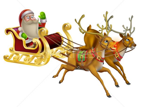 Santa Claus Christmas Sleigh Stock photo © Krisdog