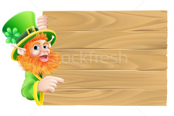 Leprechaun Wooden Sign Stock photo © Krisdog