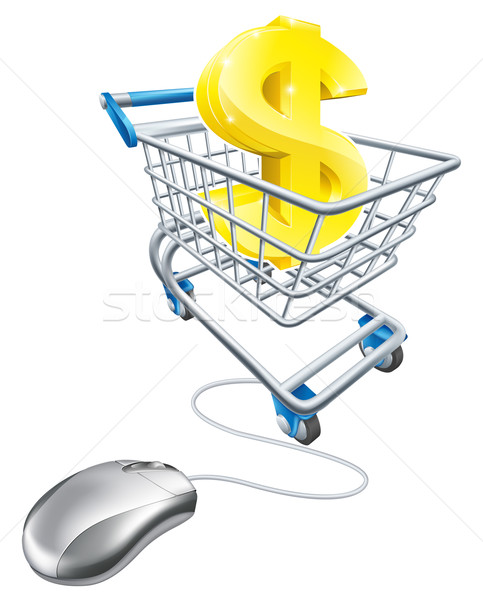 Dollar sign in shopping cart and mouse Stock photo © Krisdog
