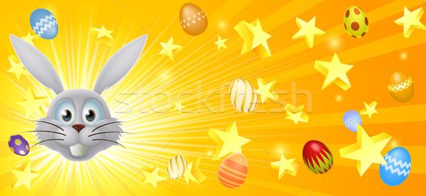 White Easter bunny banner Stock photo © Krisdog