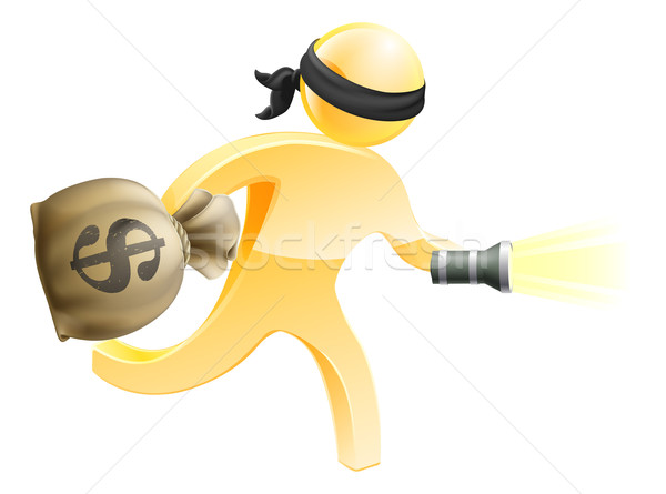 Burglar with money and flashlight Stock photo © Krisdog