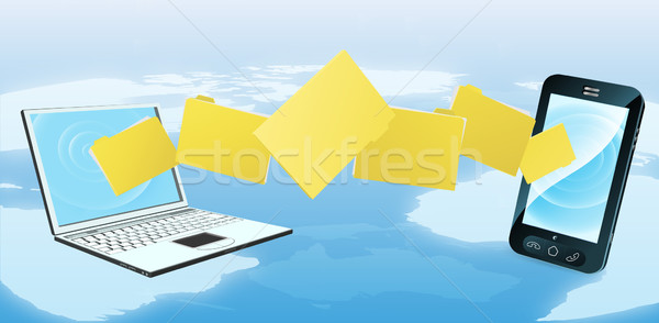 Laptop phone folder transfer Stock photo © Krisdog