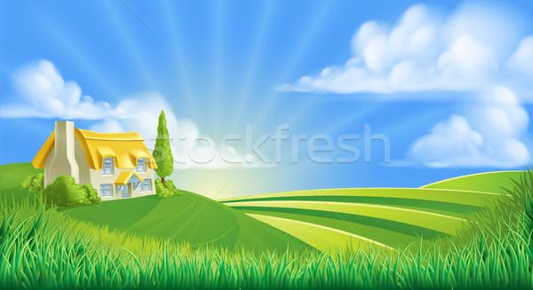 Cottage in rolling hills Stock photo © Krisdog