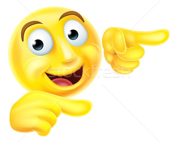Emoji emoticon smiley pointing Stock photo © Krisdog