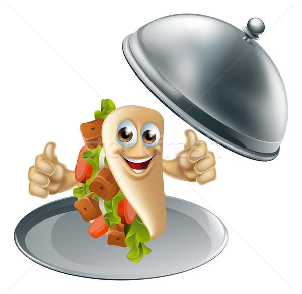 Kebab Character on Serving Dish Stock photo © Krisdog