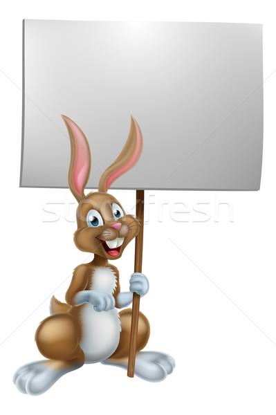 Lapin de Pâques signe heureux cartoon lapin Photo stock © Krisdog