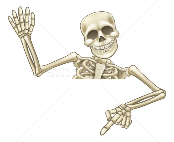 Pointing and Waving Cartoon Skeleton Stock photo © Krisdog