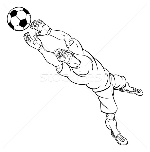 Cartoon Soccer Football Goal Keeper Player Stock photo © Krisdog