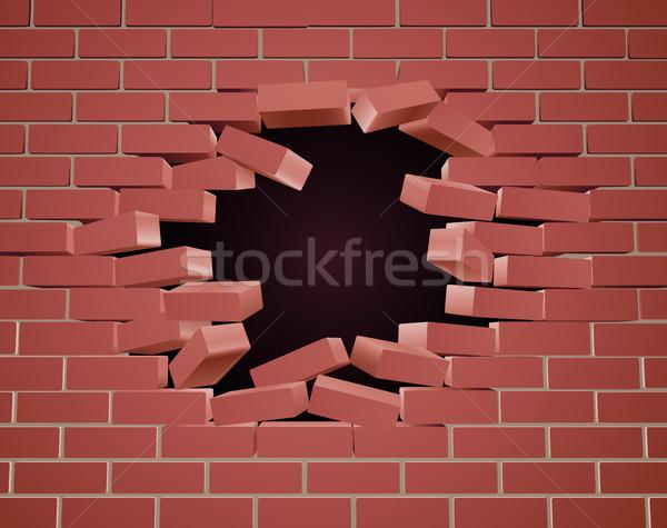 Pared de ladrillo agujero construcción pared resumen diseno Foto stock © Krisdog