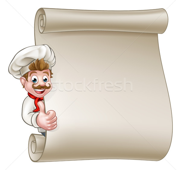Cartoon Chef Menu Scroll Stock photo © Krisdog