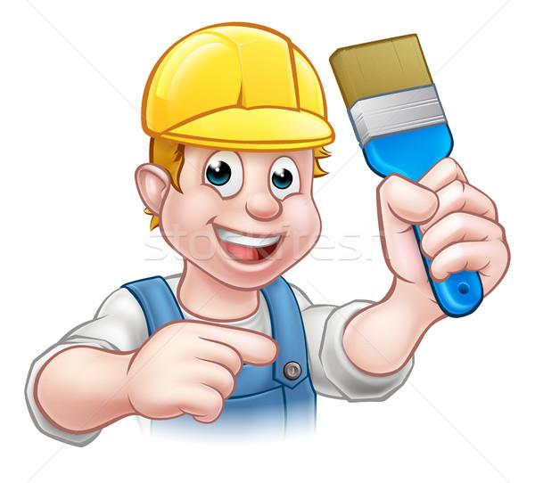 Handyman Painter Decorator With Paintbrush Stock photo © Krisdog
