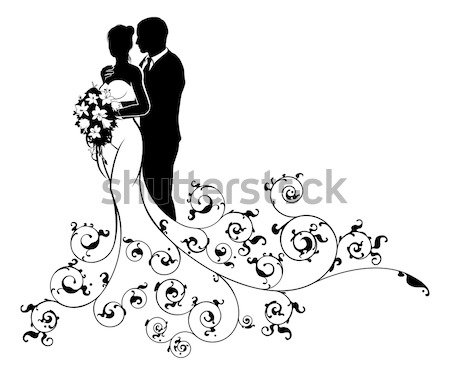 Wedding Couple Bride and Groom Silhouettes Stock photo © Krisdog