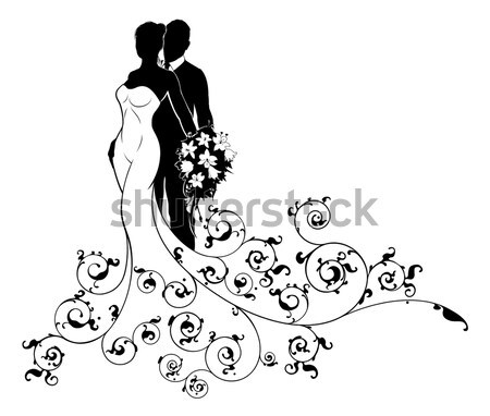 Wedding Bride Silhouette Holding Flowers Stock photo © Krisdog