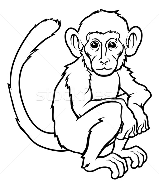 Stylised monkey illustration Stock photo © Krisdog