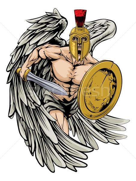 Forte angelo illustrazione guerriero carattere sport Foto d'archivio © Krisdog