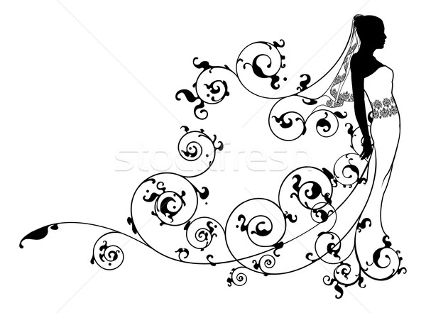 Bride bridal dress silhouette abstract Stock photo © Krisdog