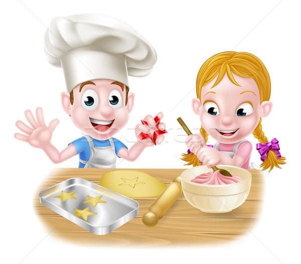 Ninos Cartoon tortas galletas chefs Foto stock © Krisdog