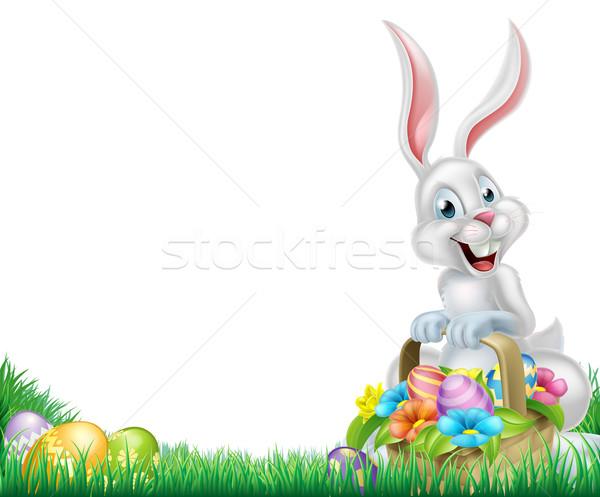 Rajz fehér húsvéti nyuszi kosárnyi tojás húsvét jelenet Stock fotó © Krisdog