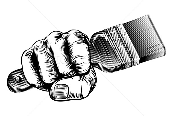 Woodcut Fist Hand Holding Paintbrush Stock photo © Krisdog