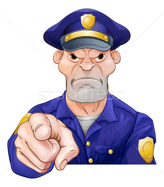 Angry Pointing Policeman Stock photo © Krisdog