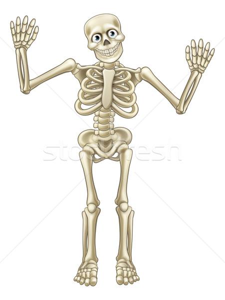 Skeleton Cartoon Waving Hands Stock photo © Krisdog