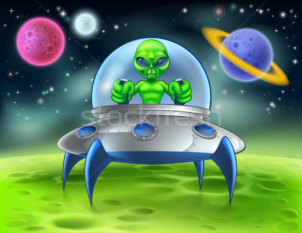 Cartoon Alien UFO Flying Saucer on Planet Stock photo © Krisdog