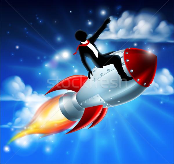 üzletember rakéta hajó sziluett üzletember lovaglás Stock fotó © Krisdog