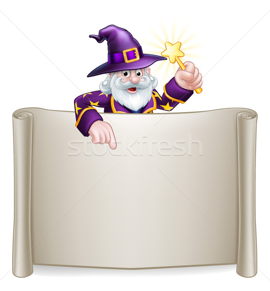 Scroll Sign Cartoon Wizard Stock photo © Krisdog
