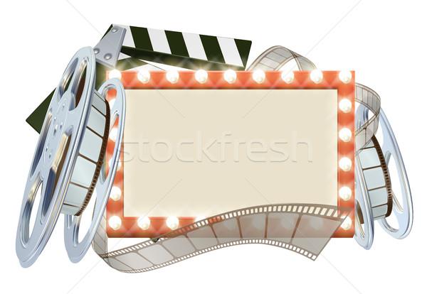 Cinema filme assinar filme lâmpadas rolo de filme Foto stock © Krisdog